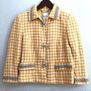 Walter Yellow Tweed Beaded Houndstooth Blazer